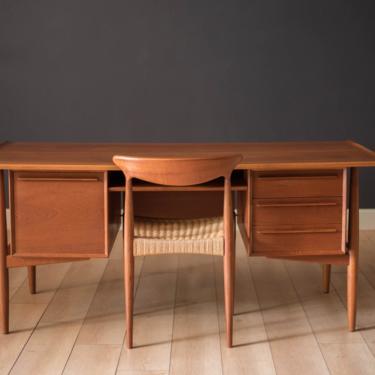 Danish Modern Teak Executive Desk by H.P. Hansen by MidcenturyMaddist