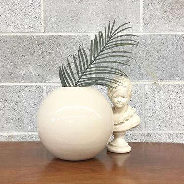 Vintage Vase Retro 1990s Contemporary + Beige Ceramic + Round + Orb Shaped + Minimalist Home Decor + Plant or Flower Display by RetrospectVintage215