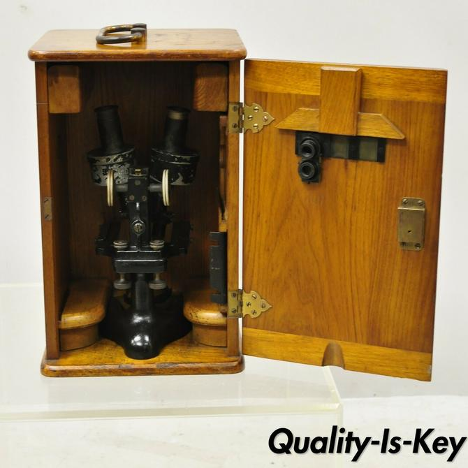 Antique Bausch-Lomb Arthur G. Thomas Microscope in Case with Extras