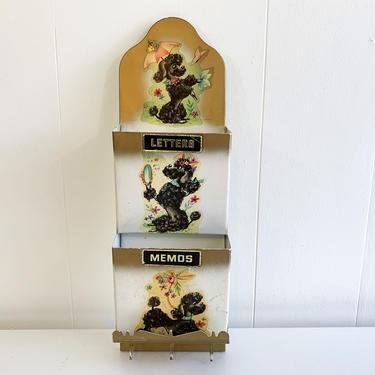 Vintage Mail Organizer Letter Holder Metal Memos Black Poodles Kitsch Kawaii Boho Retro Storage Container Office Crafts Kistchy MCM by CheckEngineVintage