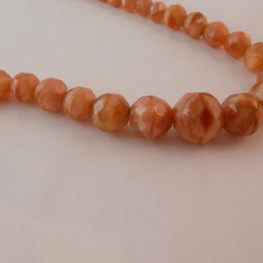 Pink Coral Colored Glass Bead Necklace by estateoriginals