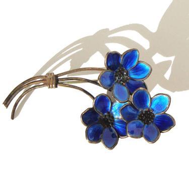 Vintage 40s Bernard Meldahl Brooch Sterling Blue Enamel Guilloche Floral Pin by MetroRetroVintage