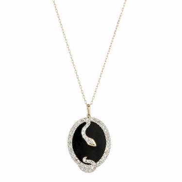 Onyx + Diamond Oval Snake Pendant - Yellow Gold