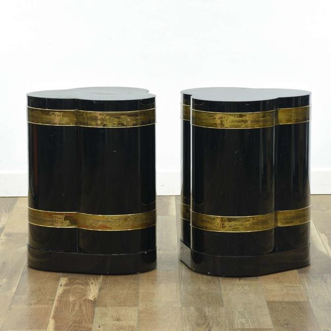 Pair Of Black & Gold Art Deco Trefoil End Tables W Base