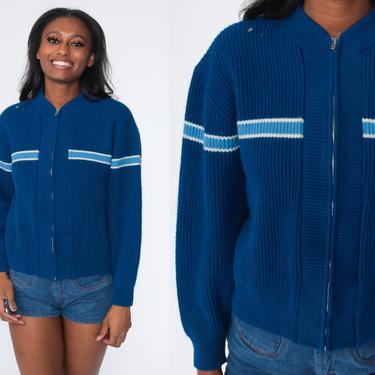 Striped Cardigan Sweater 80s Campus Sweater Blue Sweater Retro Zip Up Sweater Knit Grandpa Boho 1980s Vintage Medium by ShopExile