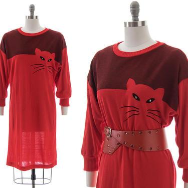 Vintage 1980s Sweater Dress | 80s Cat Kitty Novelty Print Red Knit Acrylic Dress (small/medium) by BirthdayLifeVintage