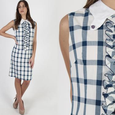 60s White Tuxedo Ruffle Mini Dress / 1960s Navy Blue Mod Ruffly Chest / Vintage Checkered Plaid Fit N Flare / Tiny Collar Shift Mini Dress by americanarchive