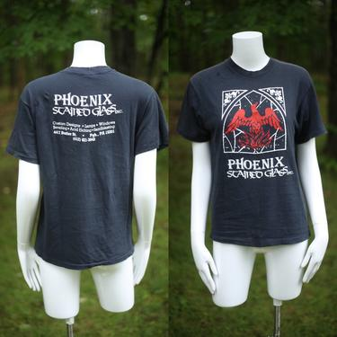 vintage graphic t shirt M / vintage 1980s phoenix stained glass medieval tee shirt by ritualvintage