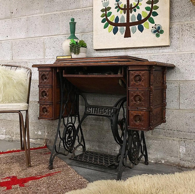 LOCAL PICKUP ONLY Vintage Singer Sewing Machine Table Retro 1900s Brown Wood Entryway + Side Table With Cast Iron Base + Multiple Drawers by RetrospectVintage215