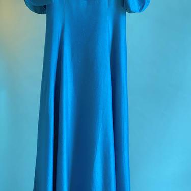 Young Miss Tween 80's Silk Look Dress Peacock Blue Mother Daughter Set by BeggarsBanquet
