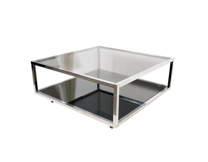 Chrome and Smoked Glass Cocktail Table Coffee Table Mid Century Modern by HearthsideHome