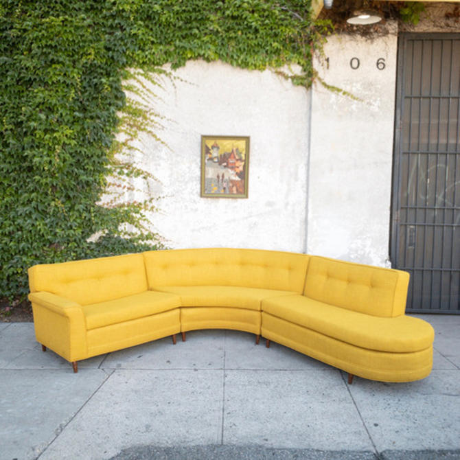 Vintage Reupholstered Sectional in Mustard Yellow