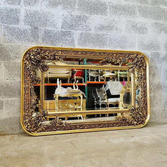 """French Mirror 1 Available 62"""" Width Rectangular Baroque Mirror Rococo Antique Mirror Gold Furniture Interior Design Furniture Vintage Mirror by SittinPrettyByMyleen"""