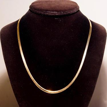 "Vintage Italian 14K Yellow Gold Herringbone Chain Necklace, Minimalist Unisex Gold Necklace, 3mm Flat Herringbone Chain, 20"" Long by shopGoodsVintage"