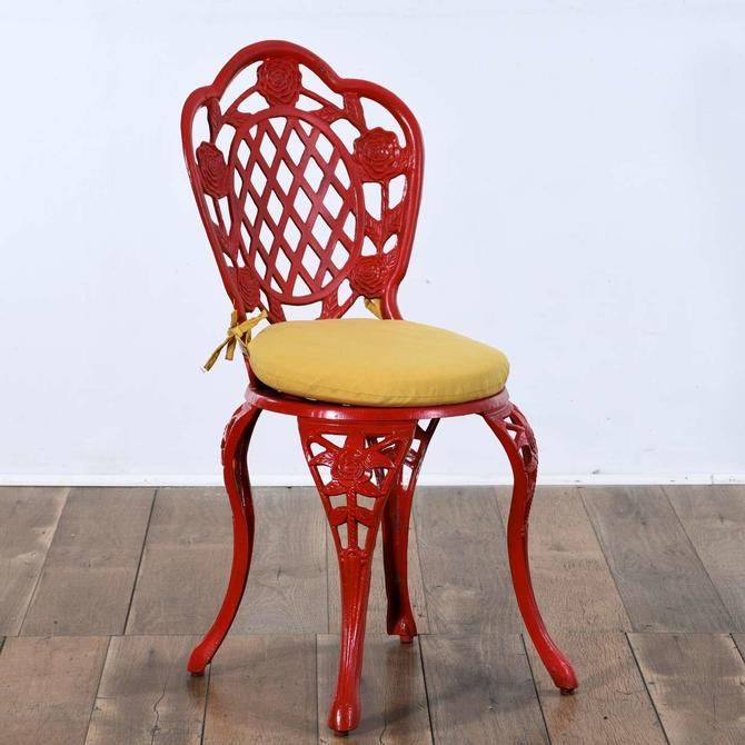 Red Cast Metal Patio Chair