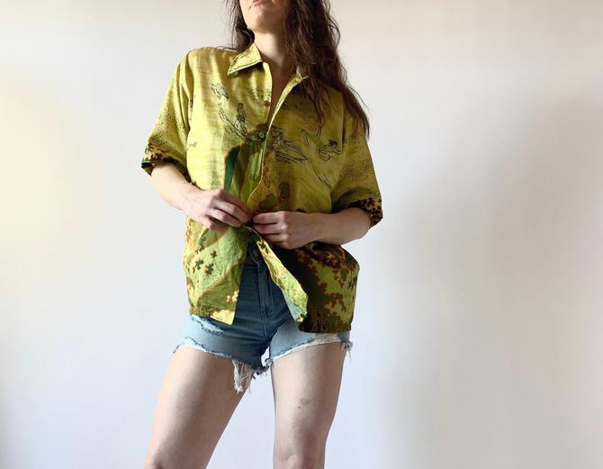 1960s Hawaiian shirt vintage 60s cotton shirt by Barefoot in Paradise by vestigesvintage