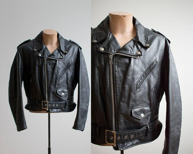 Black Leather Perfecto Schott Jacket / Black Leather Jacket / Black Leather Motorcycle Jacket / 70s Schott Jacket 46 / 1970s Perfecto 618 by milkandice