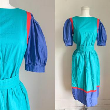 Vintage 1980s Colorblock Day Dress / M by MsTips