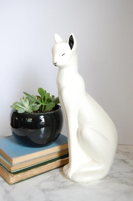 White Ceramic Cat Statues Vintage Cat Figurine White Cat Feline Statue by PursuingVintage1
