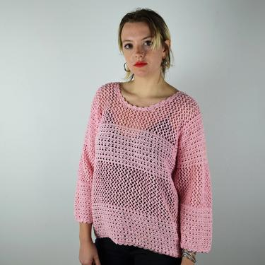 Vintage 80s Sweater / 1980s Vintage Sweater / Pink Sweater Knit Crochet / Ribbons Top Shirt Womens / Small Medium 90s 1990s by ErraticStaticVintage