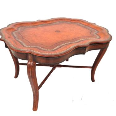 Antique English Regency Style Leather Butlers Tray Coffee Table by PickeryPlace