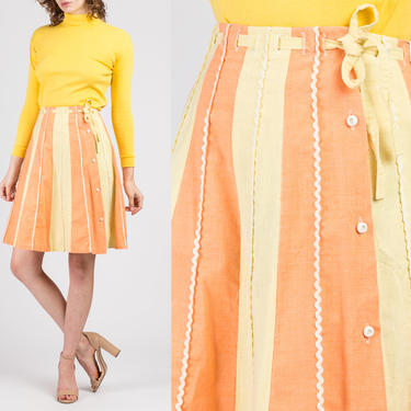 60s Orange & Yellow Striped Ric Rac Trim Skirt - Small | Vintage Boho Belted Button Up A Line Mini Skirt by FlyingAppleVintage