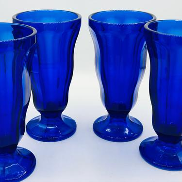 Vintage Set of 4 Anchor Hocking Cobalt Blue Tall Footed Parfait Sundae Ice Cream Glasses by JoAnntiques