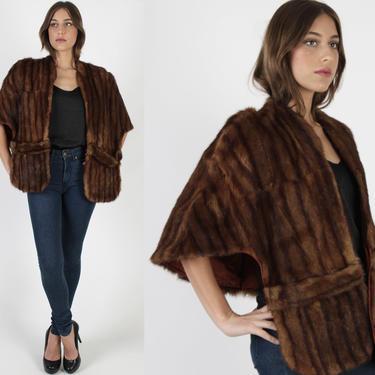 40s Red Mink Fur Stole, Vintage 50s Deco Wedding Bolero, Womens Draped Real Fur Cape , Bridal Striped Shrug by americanarchive