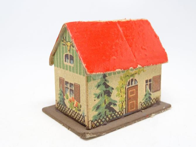 Vintage 1950's German Christmas House for Putz or Nativity, East Germany, Retro Lithographs on Cardboard by exploremag