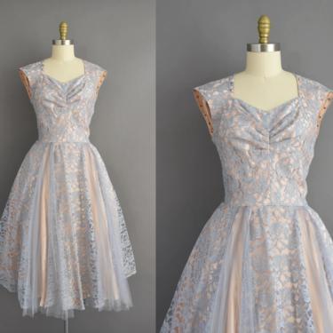 vintage 1950s dress | Gorgeous Powder Blue & Ballet Slipper Pink Cocktail Party Full Skirt Dress | Medium Large | 50s vintage dress by simplicityisbliss