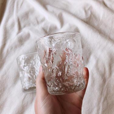 Anchor Hocking Clear Crinkle Glasses |  Set of 2 | Vintage Glassware | Vintage Barware | On the Rocks Glasses by BrassBluebonnets