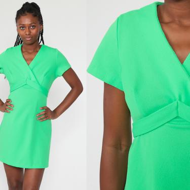 Lime Green Babydoll Dress 1970s Mod Mini Dress 70s Deep V Neck Dress Party Empire Waist Neon Green Vintage Short Sleeve Plain Medium Large by ShopExile