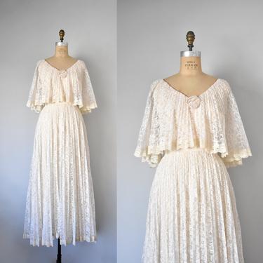 Diahann 70s lace wedding dress, 70s dress, lace maxi dress, 70s dress, cottagecore boho by ErstwhileStyle
