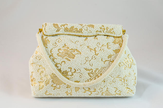 1960s Vintage Purse - Incredible gold brocade purse with white patterned beading by DomesticatedPinup