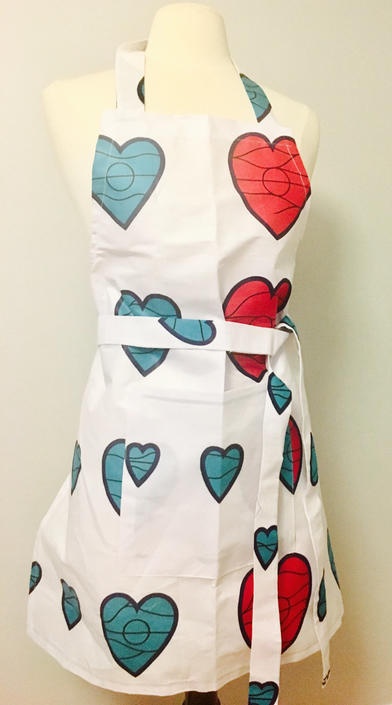 Beautiful African Ankara Love shaped embelished Apron, 100% Cottonwax by PriscArts