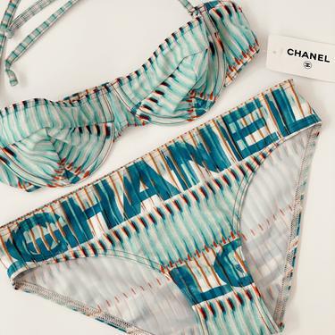 Vintage CHANEL Letter Logo Bikini 2 piece Swim Suit Swimwear Bralette Crop top Halter - Fr 38 RARE! New with Tags! by MoonStoneVintageLA