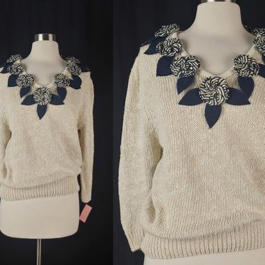 Vintage Bonnie and Bill Ramie Knit Sweater with Floral Applique - New Old Stock NOS Medium Sweater by JanetandJaneVintage