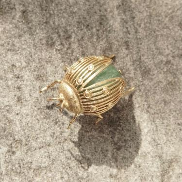Vintage 14K Gold & Aventurine Ladybug Brooch Pin, Green Gemstone Wrapped In Yellow Gold, Large Ladybug Brooch, 585 Jewelry by shopGoodsVintage