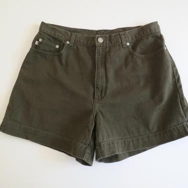 1990s olive high waist jean shorts by flutterandecho