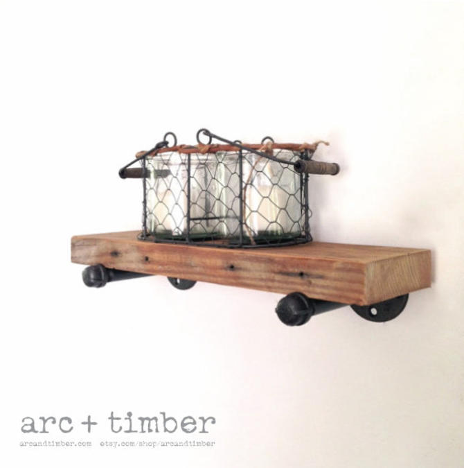 "The ""Dormer"" Wall Shelf - Reclaimed Wood Shelf - Reclaimed Wood & Pipe Shelf by arcandtimber"