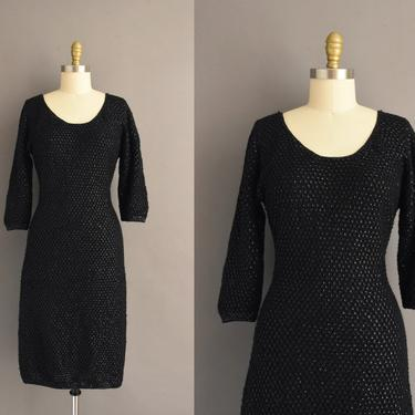 1950s vintage dress   Sparkly Black Sequin Stretch knit Cocktail Party Bridesmaid Wiggle Dress   Large   50s dress by simplicityisbliss