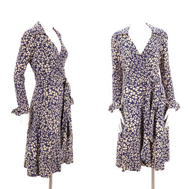70s DVF navy print wrap dress 6 / 1970s vintage Diane Von Furstenberg clover sash tie dress Large 1970s S-M by ritualvintage