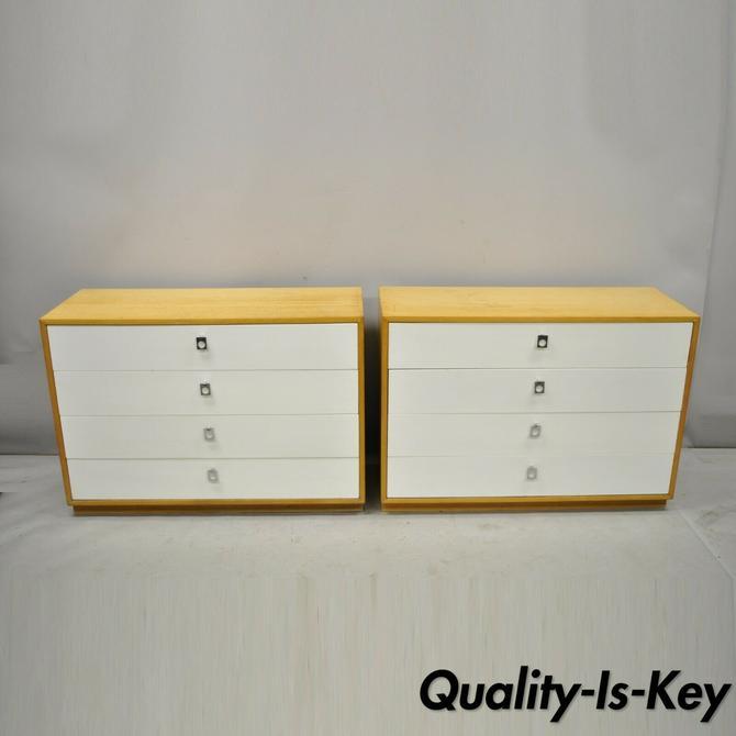 Pair Founders Jack Cartwright White Mid Century Modern Birch Wood Chest Dressers