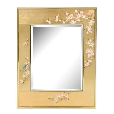 Artisan Reverse Painted Mirror in Gold Leaf with Magnolias and Bluebird 1988 (Signed)