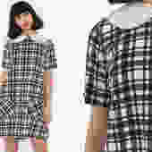 Peter Pan Dress Plaid 60s Mod Mini COLLAR Black White Plaid Print A Line 1960s Lolita Vintage Sixties Shift Short Sleeve Twiggy Small Medium by ShopExile