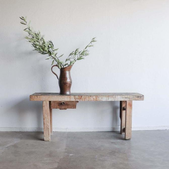 Vintage Rustic Workbench Console