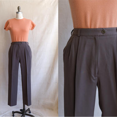 Vintage 90s Taupe Trousers/ 1990s High Waisted Brown Grey Pleated Dress Pants/ Size 25 by bottleofbread