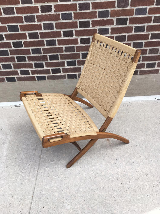 Hans Wegner Style Woven Rope Folding Chair by bcdrygoods