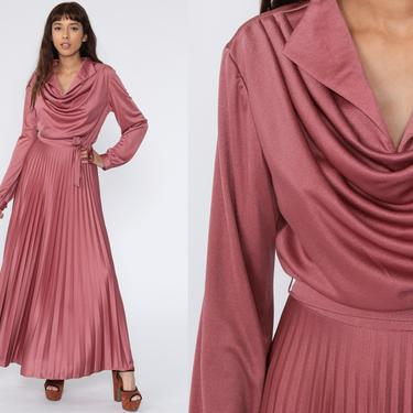 Grecian PLEATED Dress Party Dress 1970s Maxi Dress 70s Boho Disco Dress Pink COWL Neck Long High Waist Long Sleeve Drape Gown Formal Large by ShopExile