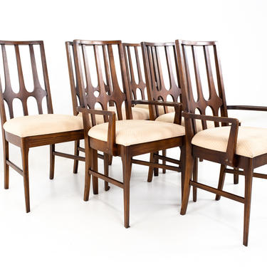 Broyhill Brasilia Brutalist Mid Century Walnut Dining Chairs - Set of 6 - mcm by ModernHill